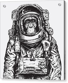 Hand Drawn Monkey Astronaut Vector Acrylic Print