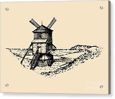 Hand Drawn Sketch Of Rustic Windmill At Acrylic Print