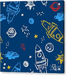 Hand Drawn Space Background Acrylic Print