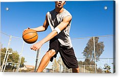 Handsome Male Playing Basketball Outdoor Acrylic Print