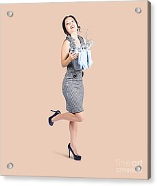 Happy Cleaning Woman Kicking Up Dirt And Grime Acrylic Print