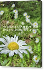 Happy Daisy Quote Acrylic Print by JAMART Photography