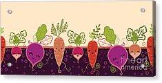 Happy Root Vegetables Horizontal Acrylic Print by Oksancia
