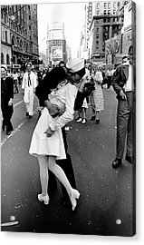 Happy Sailor Kissing Nurse In Times Acrylic Print by Alfred Eisenstaedt