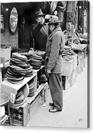 Harry Kregman, Owner Of Hats & Caps, At Acrylic Print by New York Daily News Archive