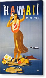 Hawaii Travel Poster Acrylic Print by Graphicaartis