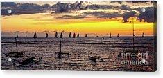 Hawaiian Sunset - Honolulu, Oahu, Hawaii Acrylic Print by D Davila