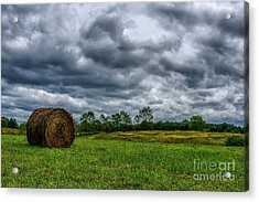 Hay Bale And Stormy Sky Acrylic Print