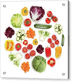 Healthy Fruits And Vegetables In Round Acrylic Print by Maxiphoto