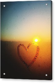 Heart Drawn On Condensed Window Acrylic Print by Sungil Lee / Eyeem