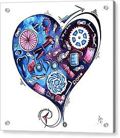 Heart Racing A Mad Shredder Biking Cycling Painting By Megan Duncanson Acrylic Print
