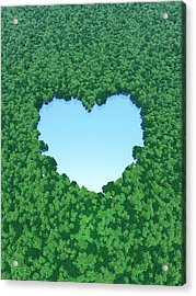 Heart Shaped Lake In Forest Acrylic Print by I-works/amanaimagesrf