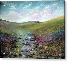 Heather By The Sea Acrylic Print by Ann Marie Bone
