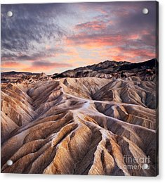 Heavily Eroded Ridges At Zabriskie Acrylic Print