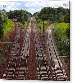 High Angle View Of Empty Railroad Tracks Acrylic Print by Thomas Albrecht / Eyeem