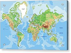 Highly Detailed Physical World Map With Acrylic Print