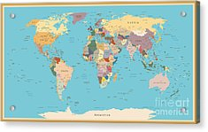 Highly Detailed World Map With Vintage Acrylic Print