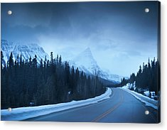 Highway Through The Canadian Rockies Acrylic Print by Kjell Linder