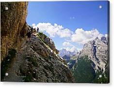 Hikers On Steep Trail Up Monte Piana Acrylic Print