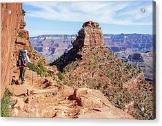 Acrylic Print featuring the photograph Hiking Toward O'neill Butte, Grand Canyon by Dawn Richards