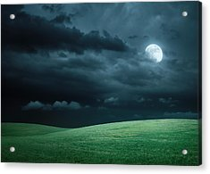 Hilly Meadow At Night With Full Moon Acrylic Print
