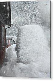 Hippie Van In Snow Acrylic Print