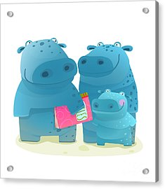 Hippo Family Mother Father And Kid With Acrylic Print