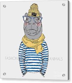 Hippo Hipster Dressed Up In Frock And Acrylic Print