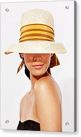 Hispanic Woman Wearing Hat To Protect Acrylic Print