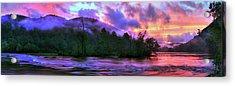 Hiwassee River Sunset Pano Acrylic Print