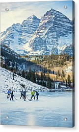 Acrylic Print featuring the photograph Hockey On Maroon Lake Maroon Bells Aspen Colorado by Nathan Bush