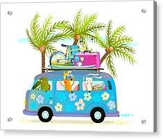 Holiday Summer Bus With Beach Tropical Acrylic Print