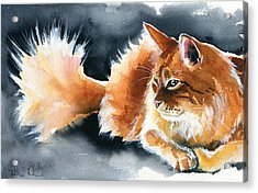 Holy Ginger Fluff - Cat Painting Acrylic Print