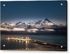 Homer Spit With Moonlit Mountains Acrylic Print