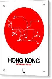 Hong Kong Red Subway Map Acrylic Print