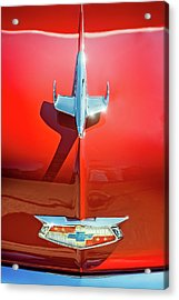 Hood Ornament On A Red 55 Chevy Acrylic Print
