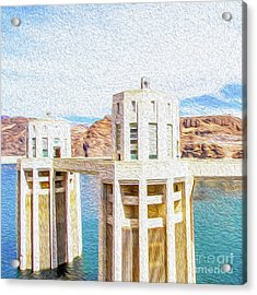 Acrylic Print featuring the digital art Hoover Dam Rendition I by Kenneth Montgomery