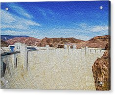 Acrylic Print featuring the digital art Hoover Dam Rendition II by Kenneth Montgomery