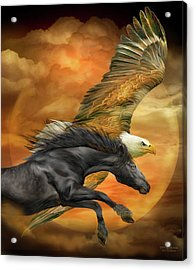 Acrylic Print featuring the mixed media Horse And Eagle - Spirits Of The Wind  by Carol Cavalaris