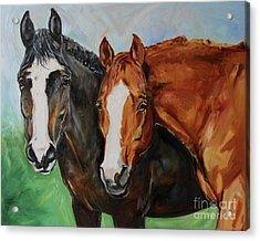 Horses In Oil Paint Acrylic Print