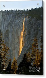 Horsetail Falls In Yosemite Illuminated Acrylic Print by Peggy Sells