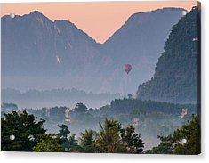 Acrylic Print featuring the photograph Hot Air Ballon In Laos by Nicole Young