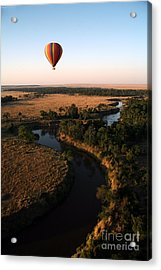 Hot Air Balloon Hovers Over The Winding Acrylic Print