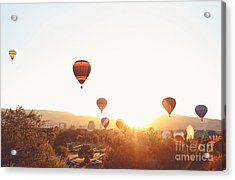 Hot Air Balloons In The Sky During Acrylic Print by Annette Shaff