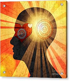 Human Head With Gears Heart Sun And Acrylic Print