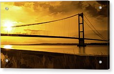 Acrylic Print featuring the photograph Humber Bridge Golden Sky by Scott Lyons