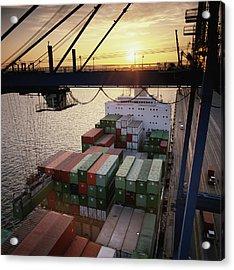 Hydraulic Cargo Crane Loading Acrylic Print by Greg Pease