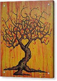 Acrylic Print featuring the drawing Hygge Love Tree by Aaron Bombalicki