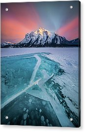 Acrylic Print featuring the photograph Ice Cracking / Abraham Lake, Alberta, Canada  by Nicholas Parker