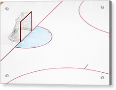 Ice Hockey Goal Net And Empty Rink Acrylic Print